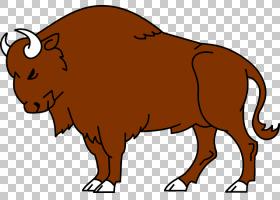 美国野牛野生动物,公牛,喇叭,公牛,野生动物,野牛,动画片,绘图,野