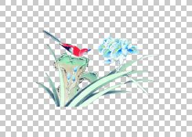 水彩画花卉背景,创意艺术,线路,花,蓝色,水彩画,工笔,绘图,水墨画