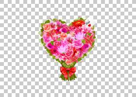 情人节的心,情人节,粉色家庭,洋红色,插花,切花,小叶月季,花卉设