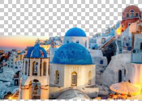 旅行蓝色背景,乐高,旅游业,旅游景点,世界,希腊,提拉,圣托里尼,村