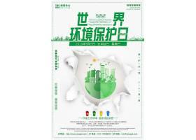 创意简约世界绿色宣传环保日海报宣传海报背景