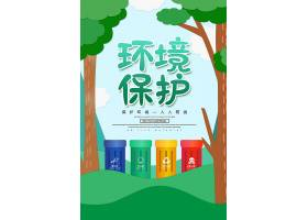 卡通创意保护环境宣传海报环保宣传海报设计背景素材