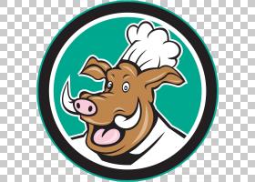 猪卡通,徽标,面积,野猪,厨师,野猪,动画片,
