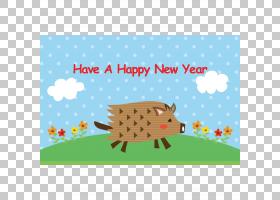 新年边框,贺卡,树,边框,面积,动画片,文本,共管公寓,矩形,问候,猪