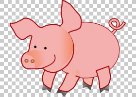 猪卡通,红色,鼻子,鼻部,动物形象,面积,粉红色,猪,可爱,动画片,野