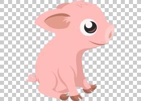 猪卡通,脖子,猪,鼻子,尾巴,鼻部,牲畜,头,粉红色,野猪,动画片,绘