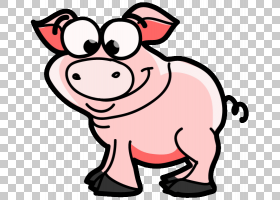 猫狗卡通,动物形象,微笑,鼻部,鼻子,粉红色,猪,野猪,动画片,动物,