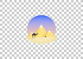 黄色背景,黄色,天空,三角形,沙漠,绘图,动画片,骆驼,