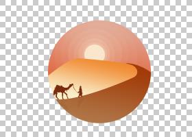 背景橙色,圆,桔黄色的,桃子,电脑,行人,沙漠,ERG,骆驼,戈壁沙漠,