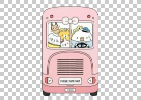 巴士卡通,动画片,技术,线路,电话技术,文本,粉红色,移动电话,苹果