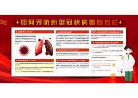 创意红色新冠状病毒武汉加油中国加油展板新冠状病毒海报