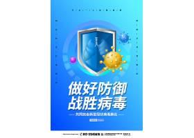 科技蓝色简约新型冠状病毒做好防御战胜病毒海报设计