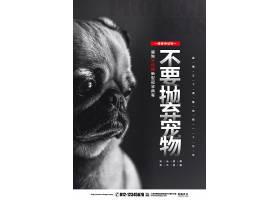 创意黑色简约抗击疫情不要抛弃宠物宣传倡议海报设计