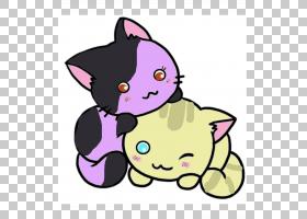 猫狗卡通,鼻部,胡须,紫色,黑色,粉红色,猫狗,油画漆,动画片,铅笔,