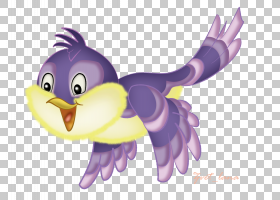 卡通小鸟,鸭子、鹅和天鹅,动画片,机翼,鸡肉,紫罗兰,喙,紫色,水鸟