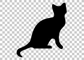 猫咪剪影,黑猫,动物形象,黑白相间,鼻部,胡须,尾巴,中小型猫科动