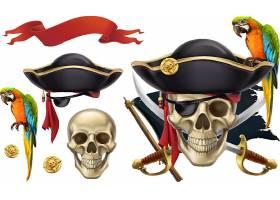 创意海上冒险和海盗设置复古物品3d图设计元素