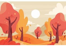 高清秋季背景与多彩视图平面设计插图元素背景