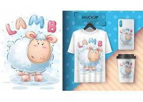 高清个性有趣的插图和商品样机打印T恤设计素材