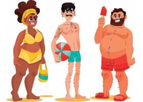 高清个性人们在海滩上的暑假和活跃的运动设计元素
