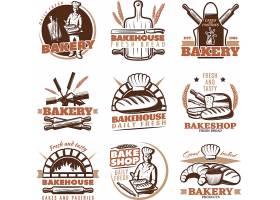 创意面包标志和面包糕点徽标与文字设计LOGO设计