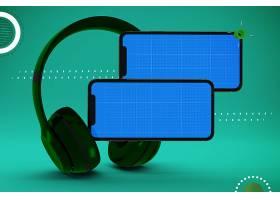 智能手机与耳机外观展示样机素材