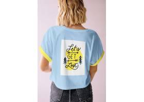 高档时尚潮流样机女孩T恤设计样板