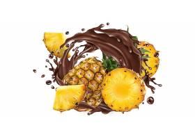 高清菠萝水果巧克力溅现实插图设计素材