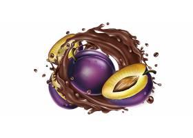 高清水果巧克力溅现实插图设计素材