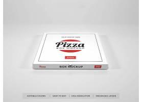 简约高档现实的比萨盒样机包装盒子设计