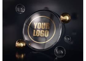 高档创意大气金色大理石徽标样机包LOGO标志
