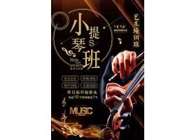 创意简约大气黑金小提琴培训班海报