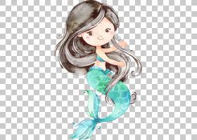 水彩美人鱼形象角色插画免扣素材