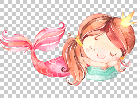 水彩美人鱼形象角色插画免扣素材图片
