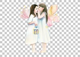 水彩仙子姐妹悄悄话插画免扣素材图片