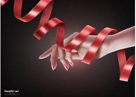 手绕着丝带