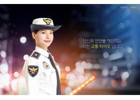 韩式女警员警察主题海报设计