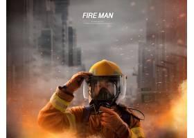 韩式消防人员人民英雄主题海报模板