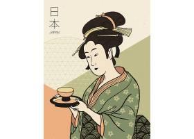 和服的女人抱着杯子和日本设计元素集