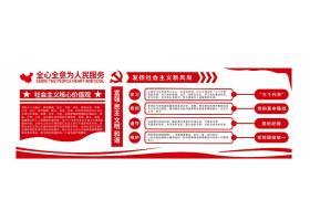 3D立体社会主义服务文化墙展板
