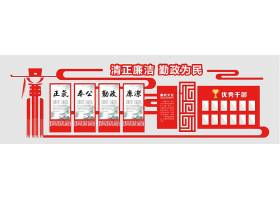 红色异型中国风立体廉政文化墙优秀干部展板