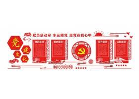 简约红色党建四个意识微立体文化墙立体墙