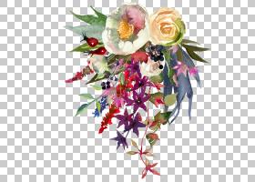 水彩花卉免扣文艺元素素材