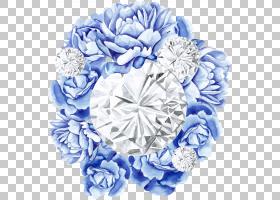 清新水彩钻石花卉免扣元素素材