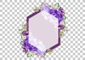 紫色花卉边框免扣文艺元素素材