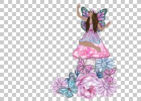 蝴蝶仙子花卉元素免扣素材