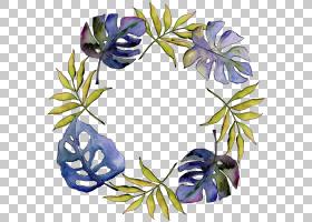 热带植物叶子巴布亚新几内亚水彩画