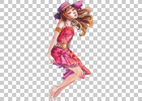 色彩丰富的手绘水彩彩铅女性人物角色插画免扣素材图片