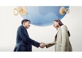 商务合作握手主题韩式海报设计