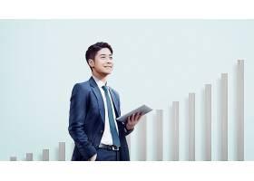 商务男业绩股市攀升主题韩式海报设计